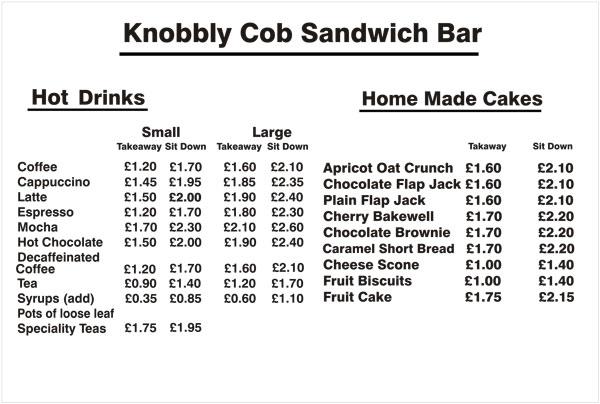 Knobbly Cob Drinks Menu Gloucester